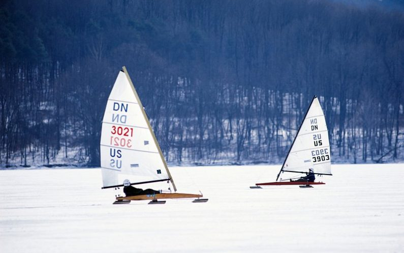 Iceboating on Lake Arthur