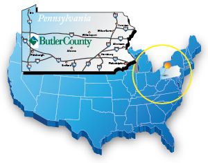 Butler County map showing ideal location for tournaments and sporting venues in PA